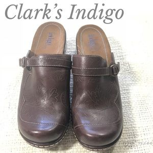 Clark's Indigo Brown Leather Mules Ring Harness 9M